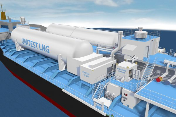 Ship LNG system with LNG tanks on deck